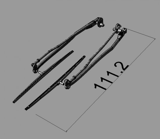 3D Printed Scale Airwolf/Bell222 60 Wipers L:124.9mm - Click Image to Close